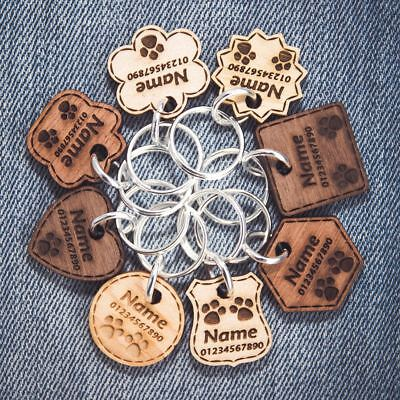 ❤ Wooden Dog Tags Pet ID Personalised Engraved Cat Name Tag Thickness 5mm Multi