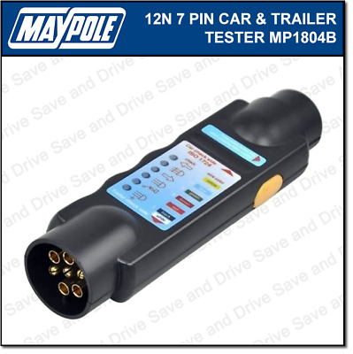 Maypole Towbar & Trailer Wiring Tester Towing Electrics Lights 7 Pin 12N MP1804B