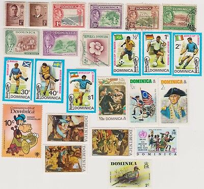 24 different older used stamps from Dominica