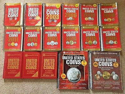 WHITMAN UNITED STATES COINS RED BOOK R.S. YEOMAN lot 2001-2016 run 17 editions