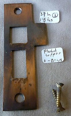 """Mortise Bolt Lock latch strike plate Flashed Copper over  BRASS ANTIQUE 3 7/8"""" l"""