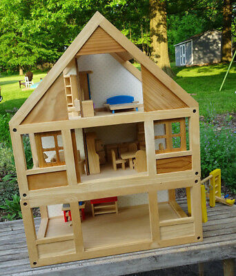 Plan Toys  Wooden My First Dollhouse with Basement Doll House Furniture $300!
