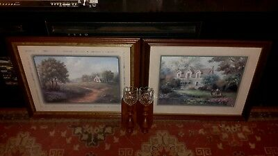 "Home interior picture grouping 4 Piece """"""good condition ""  "" playmate in garden"