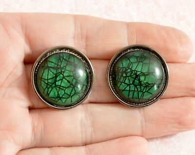 Vintage style large round green domed earrings - for pierced ears - BNWT