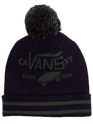 a865f4ae New Mens Blue Vans Off The Wall Full Patch Pom Cuff Beanie Hat Cap Thermal  Cool