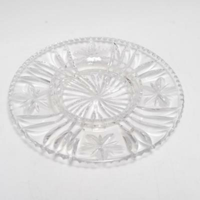 Antique Libbey Cut Crystal Hors D'oeuvres Dish