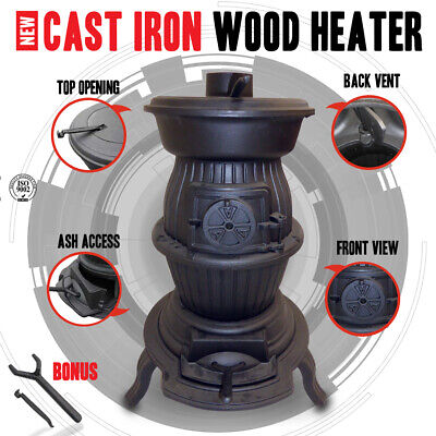 NEW Cast Iron Wood Heater Pot Belly Heater Slow Combustion 6KW Heats - 12 Square