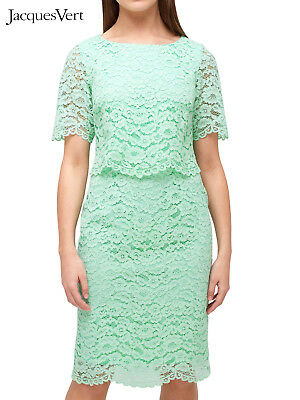 New Jacques VERT MINT Green Floral Lace Vintage Wedding Party Shift Dress 12-20