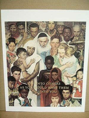 """Norman Rockwell Poster Art Print The GOLDEN RULE """"Do unto others as you ...."""""""