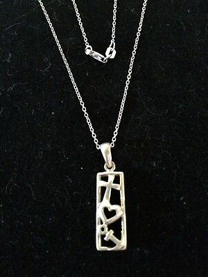 Italy 925 Sterling Silver Chain And Pendant With Cross Heart & Anchor