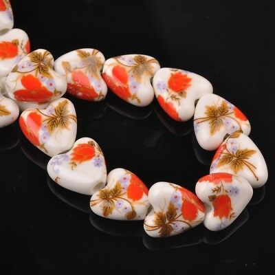 NEW 10pcs 14mm Ceramic Heart Flowers Loose Spacer Beads Findings Pattern #18