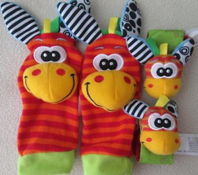 Animal Baby Infant Hand  Wrist Rattles Foot Sock Soft Baby Development NEW Red