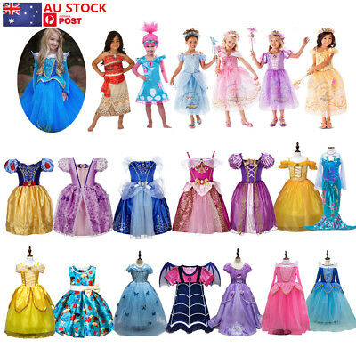 AU Princess Belle Cinderella Dress Kids Girls Fancy Party Cosplay Costume