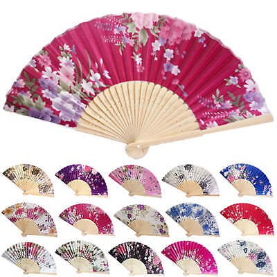 Vintage Bamboo Folding Hand Held Flower Fan Chinese Dance Party Pocket Gifts .