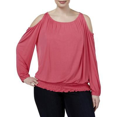 INC Womens Jersey Smocked Cold Shoulder Casual Top Shirt Plus BHFO 8276
