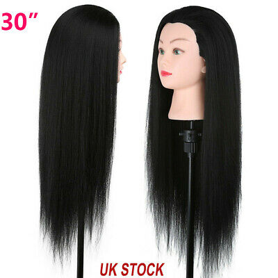 30'' 30% Real Hair Hairdressing Practice Training Head Mannequin Doll + Clamp