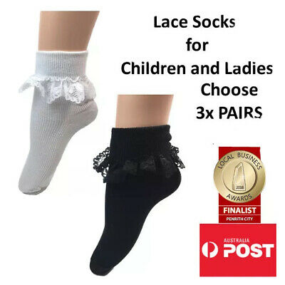 Frilly Lace Socks for Girls and Ladies LOT OF 3x PAIRS FOR $9.99