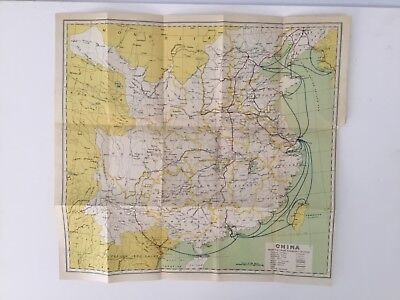 1933 Antique China Map - 85 Year Old Original Map Showing Steamship Routes
