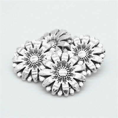 Metal Sunflower Carved Antique  Sewing Craft DIY Silver Shank Buttons 2Pcs