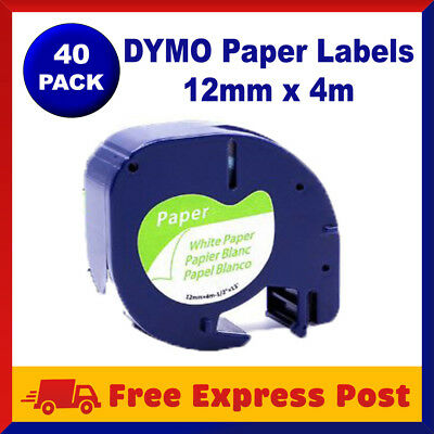 40 Pack DYMO Black on White Paper LetraTag Labels 91330 91200 Label Tape 12mmx4m