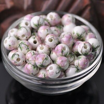 NEW 20pcs 10mm Round Smooth Ceramic Loose Spacer Beads Flower Pattern #37