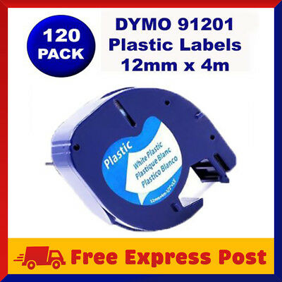 120 Pack DYMO Black on White Plastic LetraTag Labels 91331 91201 Label Tape 12mm