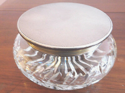 """Vintage Solid Silver Topped Cut Glass """"henry C Davis """"dressing Table Powder Bowl"""