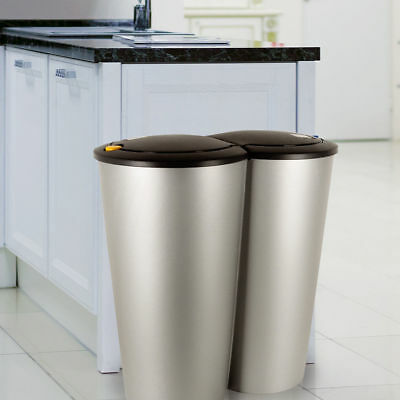 2 Compartment Waste/Trash/Recycle Bin with Push Button for Kitchen- Diff Colours