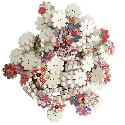 100pcs Mixed Printed Flower Wooden Buttons 2 Holes Fit Sewing Scrapbook 20mm
