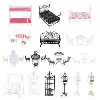 1:12 Dolls House Miniatures Metal Crafted Furniture Bed Table Chairs Accessories