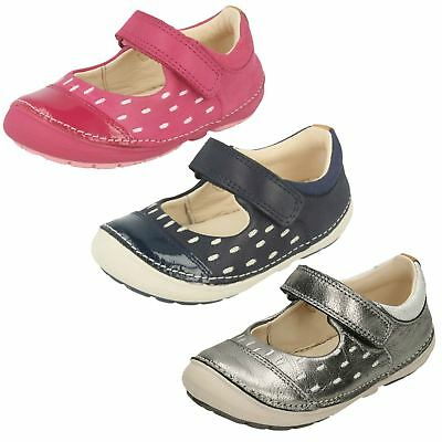 Infant Girls Clarks Hook & Loop First Shoes Leather Casual Flats Softly Lou