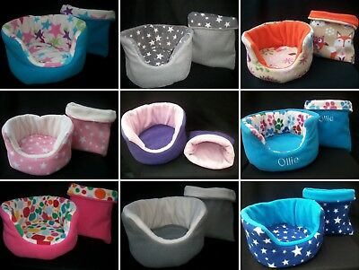 """*Cozy Pets* 2 Piece Personalised 10"""" Guinea Pig Bed Snuggle Pouch Hedgehog Rat"""