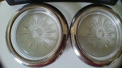 Vintage Glass Coasters with Silver Plated Rims