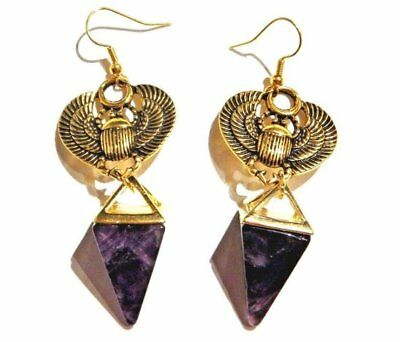 SCARAB BEETLE AMETHYST PYRAMID EARRINGS Ra Egypt Egyptian African Occult W1