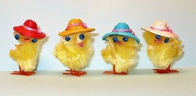 4 Vintage Miniature Chenille Chicks Wearing Hats Plastic Feet Craft