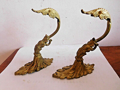 Found*two Antique / Vintage Cast Brass Scroll Leaf Wall  Swags/brackets