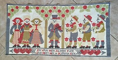 Antique Swedish Folk Art Dala Dalmalning Embroidered Tapestry, Wall Hanging