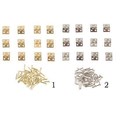12x Small Mini Metal Hinges Jewellery Box Dollhouse Hinges with Screws, DIY