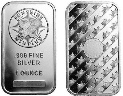 Sunshine Mint (1 Troy oz.) .999 Fine Silver Bar (Mint Mark) NEW - Factory Sealed