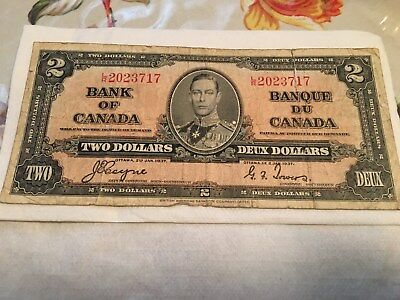 1937  Bank Of Canada 2 Dollar Bill