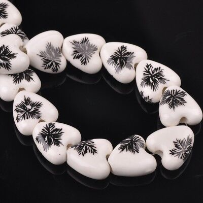 NEW 10pcs 14mm Ceramic Heart Flowers Loose Spacer Beads Findings Pattern #19