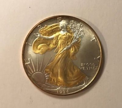 1994 American Silver Eagle 1oz SILVER Coin with 24K GOLD  GILDED, DOUBLE SIDED :