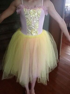 Girls skirted leotard pink with yellow /pink tulle over skirt child's size small