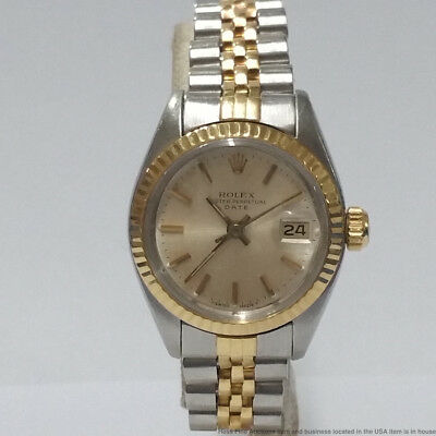 30648f65362 VINTAGE 18K GOLD SS 6917 Rolex Oyster Perpetual Date Ladies Watch ...