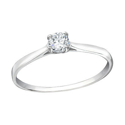 Melchior Jewellery Sterling SILVER SOLITAIRE Clear CZ ENGAGEMENT Ring Gift Boxed