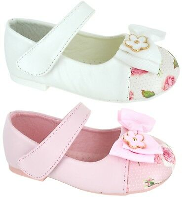 Kids Girls Infants Children Flat Dolly Pumps Floral Flower Bow Strap Shoes Size