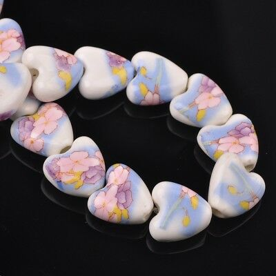 NEW 10pcs 14mm Ceramic Heart Flowers Loose Spacer Beads Findings Pattern #28