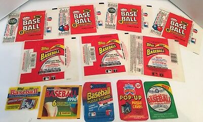 Lot Of 12 Baseball Wax Wrappers From The 80S – 90S DonRuss Fleer Topps Panini