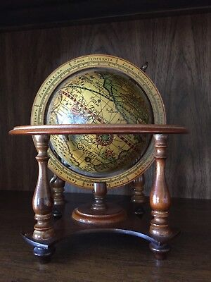 Italian Vintage Wooden World Globe w Aquarius Signs