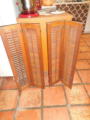 "Two Pair Vintage Wooden Shutters, each pair 36"" x 16.5"""